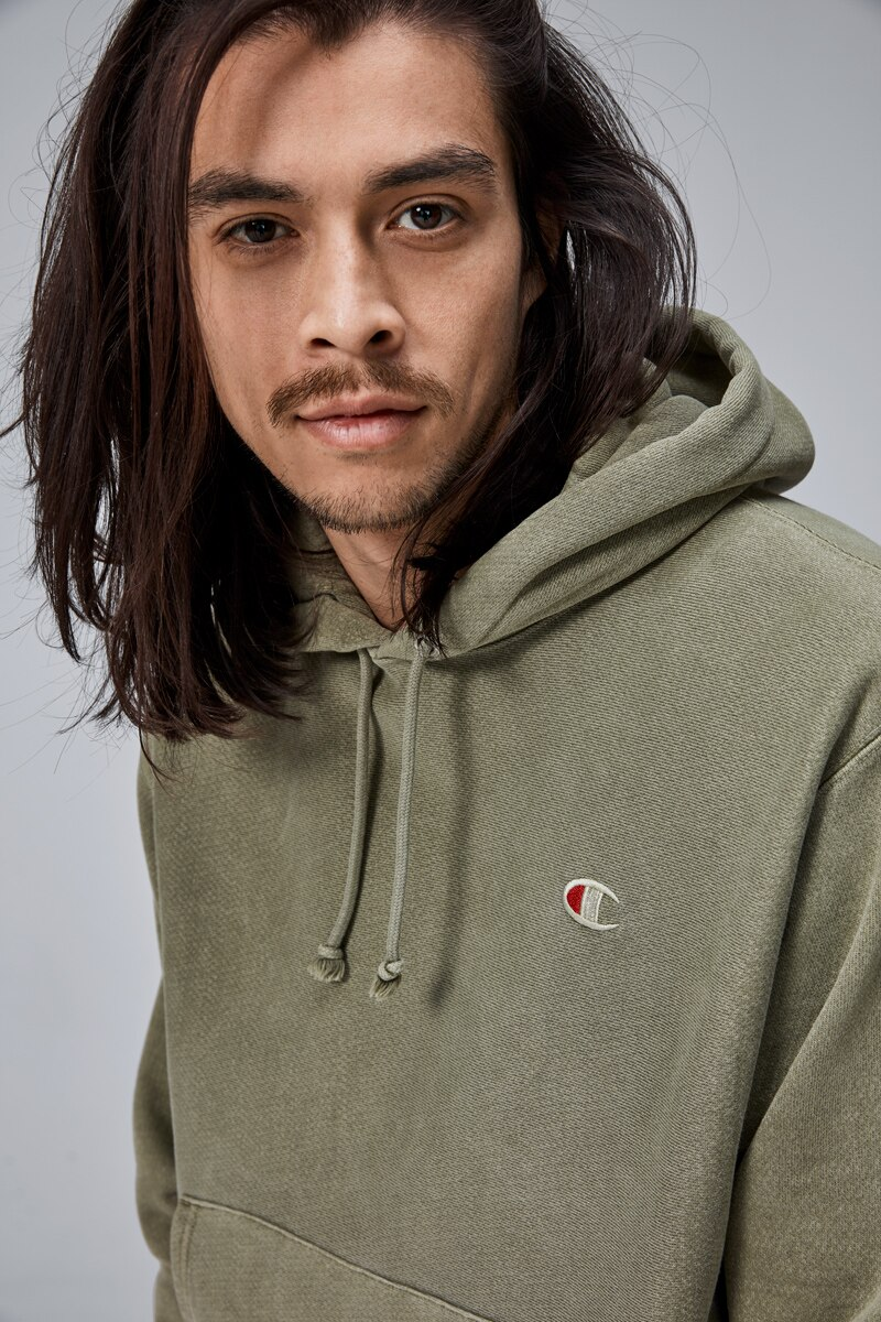 Champion Pigment Dyed Reverse Weave Hoodie - Mission Green / L A2007H_PZY-L