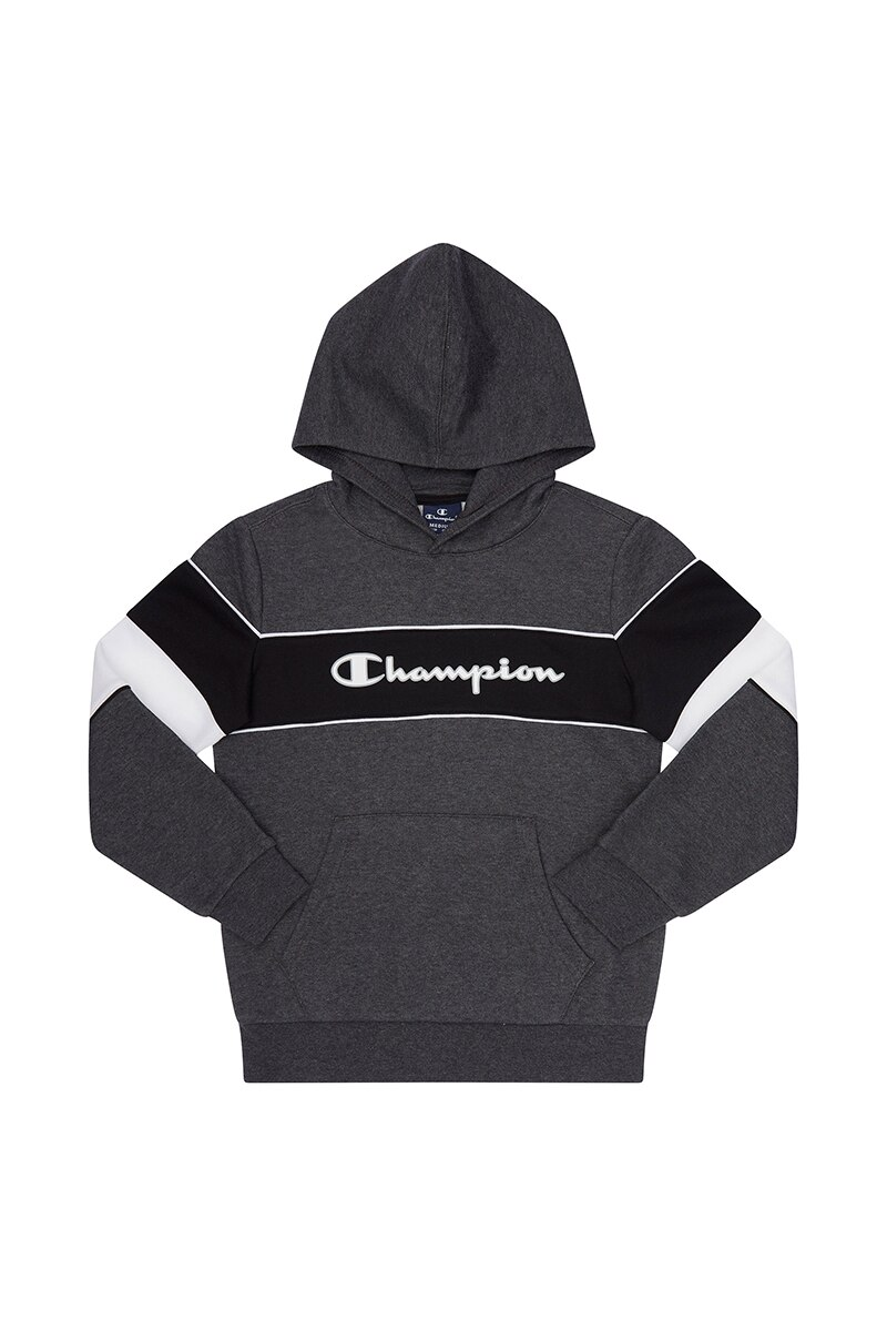 Image of Champion Boys Colour Block Hoodie - Dark Grey Marle / 10