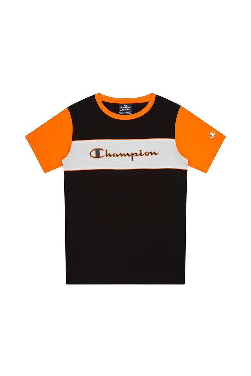 Image of Champion Boys Colour Block Short Sleeve Tee - Black & White / 10