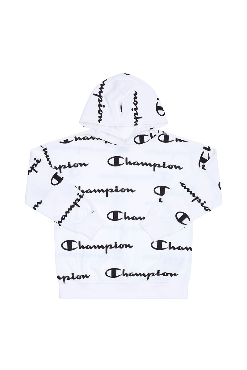 Image of Champion Boys All Over Print Hoodie - White Print / 14